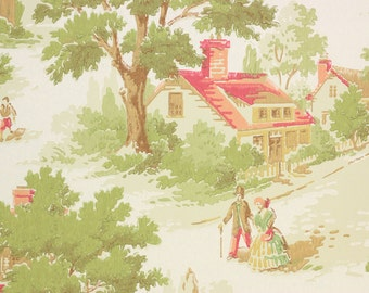 1950's Vintage Wallpaper Scenic Village Couples  by the Yard