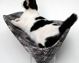 Retro modern pet bed boomerang in black grey ivory crosshatch print with acrylic