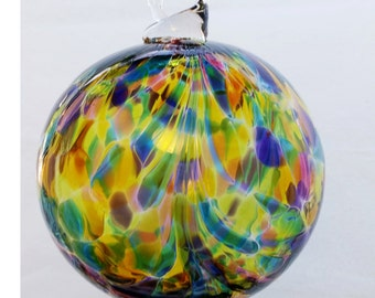 Giant Blown Glass Mosaic Peacock Feathered Witch Ball 6 inches FREE SHIPPING