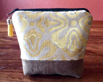 Padded Essential Oil Pouch- Hand Painted Upholstery Fabric - Small