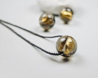Hand Blown Glass // Contemporary Jewelry // Blown Glass // Minimalist Grey Necklace