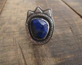 Rose cut lapis ring, hand stamped ring, statement ring by teresamatheson