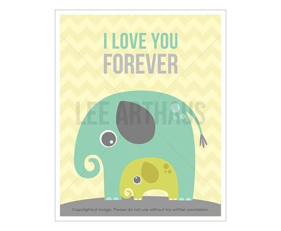 12T Elephant Decor - I Love You Forever - Elephant Theme Print - Elephant Nursery Decor - Baby Boy Art - Love Print - Elephant Drawing