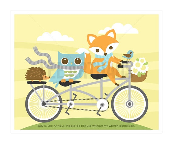 28A Fox Print -  Fox and Owl on Bicycle Wall Art - Bicycle Print - Fox Art - Woodland Nursery Art - Owl Home Decor - Woodland Nursery Print