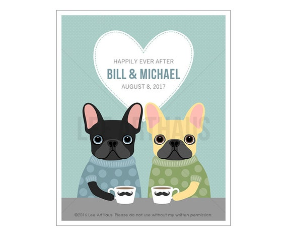 208P Custom Print - Happily Ever After French Bulldog Wall Art - Gay Wedding Gift - Gay Marriage - Gay Couple Art - French Bulldog Print