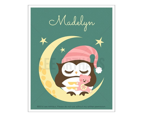 121P Baby Girl Nursery Print - Personalized Girl Owl Sleeping on Moon Wall Art - Custom Name Baby Girl Nursery Wall Art - Custom Girl Art