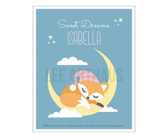 147P Fox Print - Sweet Dreams Print - Personalized Girl Fox Sleeping on Moon Wall Art - Baby Girl Nursery Wall Art - Fox Theme - Fox Art