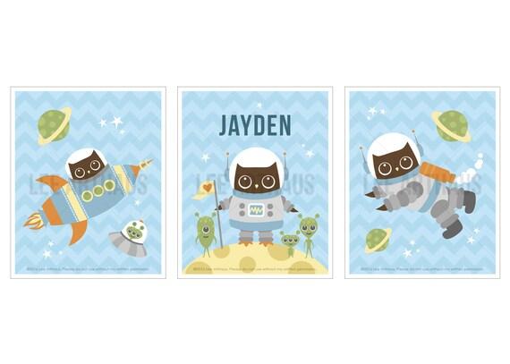19S Owl Nursery Print - Space Owl Print Set with Custom Name Prints - Set of 3 - Personalized Baby Boy Wall Art - Woodland Owl Nursery Set
