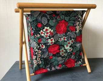 vintage knitting caddy - floral fabric magazine basket on wood frame - bin hamper - red black roses
