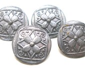 """4 Vintage BUTTONS, Pewter with flowers, 3/4""""."""
