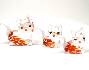 3 Glass CAT figurines, Orange, white & clear blown glass kitty family.