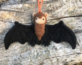 Freddy the Little Brown Bat Needlefelted Ornament