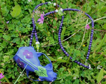 Violet - Real painted American mink skull totem necklace with wild violets on stone and glass beads