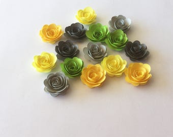 15 Island citrus  rolled paper flowers, decoration, scrapbook decoration, table decoration, rosette, small flower, embellishment
