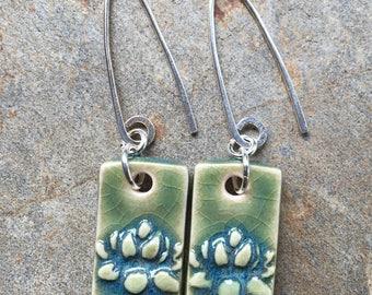 Teal Green Ceramic Rectangular Lotus Earrings
