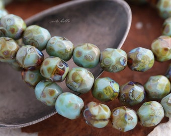 sale .. TORTOISE PEBBLES 6mm .. 25 Picasso Czech Glass Faceted Round Beads (5631-st)