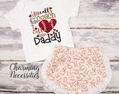 Baseball Coaches Daughter Top and Ruffle Shorts Set, Fan, Baby Girl, Toddler Girl Clothes, You Call Him Coach I Call Him Daddy - Cream
