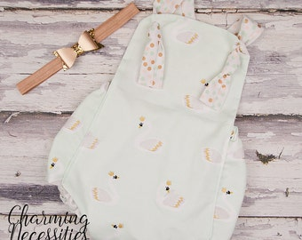 NEW Baby Girl Clothes, Spring Toddler Girl Clothes, Sunsuit Bubble Romper in Swan Queen by Charming Necessities retro vintage inspired