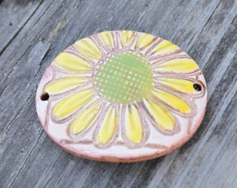 Handmade Pottery Bead with Yellow and Green with a BOHO feel