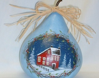 Salt Box House Winter Scene Gourd - Primative Hand Painted Gourd