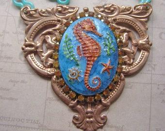 Seahorse Sea Horse Necklace, Ocean Theme Necklace, Women Beach Jewelry, Nautical Pendant, Ocean Green Jewelry, Summer Necklace