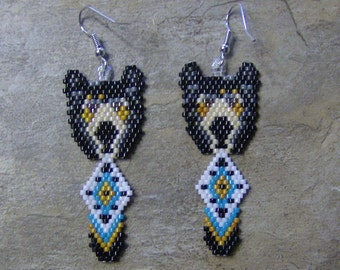 Bear Earrings Hand Made Seed Beaded