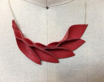Petal Collection: Red leather petal necklace