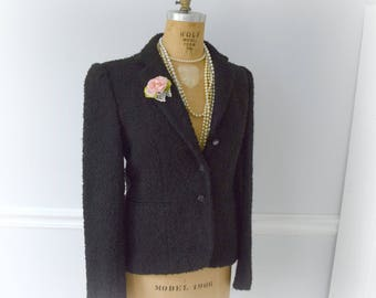 Chanel Style Jacket, Evan Picone, Size 8, Black Wool, Nubby Texture, Boucle, Fitted, Faux Pockets, 3 Buttons