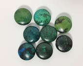 8 Flat Round Puffed Chrysocolla Beads - Gorgeous Shades of Blue and Green with Black - Each Bead Unique - 20 mm