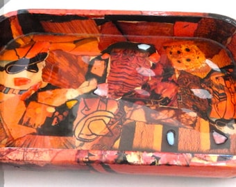 One of a Kind Collaged Wooden Tray
