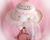 Doll Hat for 18 inch Doll American Girl Doll Hat White and Pink Doll Hat Doll Accessory Am Girl Doll Hat AG Doll Cotton White Crochet Hat