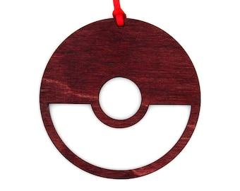 Wooden Pokemon PokeBall Ornament