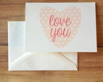 Love You - Heart Greeting Card