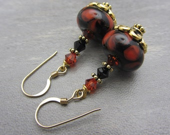 Lampwork Earrings Black and Orange Earrings Glass Bead Earrings Dangle Drop Earrings With Swarovski Crystal SRAJD USA Handmade