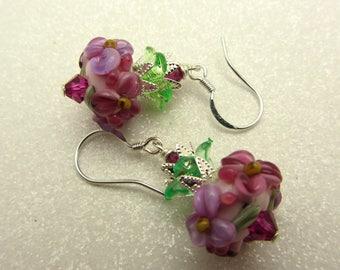 Lampwork Earrings Flower Earrings Glass Bead Earrings Dangle Drop Earrings Floral Earrings SRAJD USA Handmade