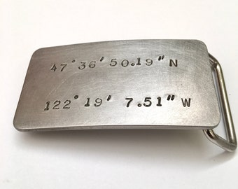 11th anniversary gift for husband - stainless steel coordinates belt buckle -  - steel anniversary - GPS coordinates- leather belt -