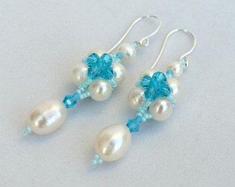 Pearl and crystal earrings White and aqua earrings Beadwork earrings with real freshwater pearls and crystals White and blue earrings E1043