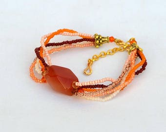 Multi strand bracelet with red agate Seed bracelet with agate focal Red orange cream bracelet Mineral bracelet Real red agate bracelet B337