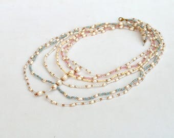 Multi strand pastel necklace with real pearls Freshwater pearls necklace in pastel colors Delicate multi strand necklace Free shipping N126