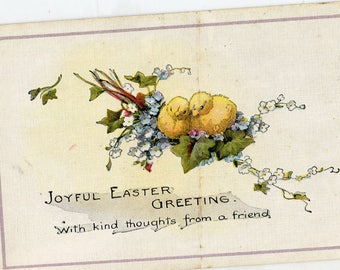 Vintage Easter vintage postcard, Easter Greetings, Easter chicks vintage postcard, SharonFosterVintage, chickens postcard