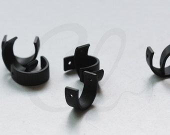 2 Pieces Matte Black Plated Brass Base Two Holes Spacer - Curved Bead Frame - Half Circle 13x5mm (3116C-O-341)
