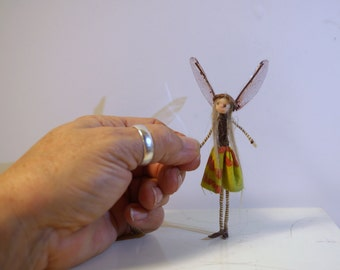 ooak poseable miniature itsy bitsy TINY fairy  ( # 53 ) polymer clay art doll by DinkyDarlings elf pixie faery