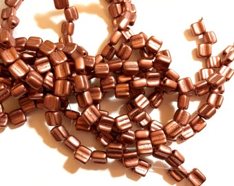 Groovy - Czech 2 Hole, 6mm Tile Beads, one string of 40 beads - Bronze Copper( Bronze Fire Red)