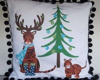 15% OFF SALE - DIY Pillow Panel - Holiday Tiger