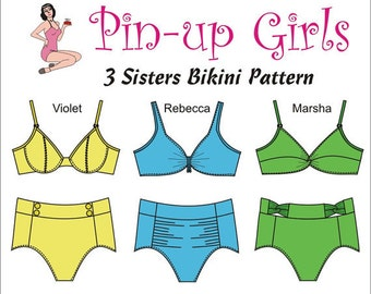 Pin Up Girls 3 Sisters Bikini swim sewing pattern