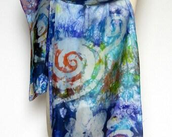 Large Silk Shawl Blue Grey Spiral with an Orange Twist