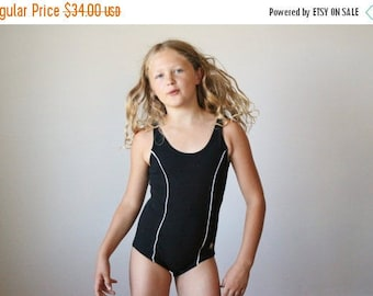 25% OFF SALE NOS, 1960s Black Nautical Swimsuit >>> Girls Size 10/slim 12