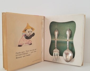 Vintage Baby Book Fork and Spoon Set by Rogers Bros. Rememberance Pattern Panda's Silver Friends