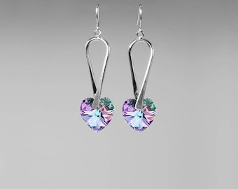 Swarovski Crystal Earrings, Choose Your Color, Sterling Silver Plated, Crystal Hearts, Fancy Earrings, Bold Earrings, Bridal Jewelry