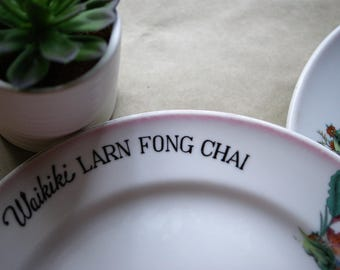 Vintage Waikiki Larn Fong Chai Restaurant Plates from the 1930s Early 1940s Pre WWII, Hawaiiana, Chinese Food Establishment